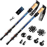 Premium Ultralight Trekking Poles w/ Cork Grips - Your collapsible Hiking / Walking Sticks come with Tungsten Tips and Flip Locks - Enjoy the Outdoors