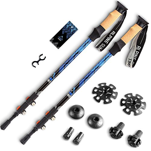 Alpine Summit Premium Ultralight Trekking Poles w/Cork Grips Your collapsible Hiking/Walking Sticks come with Tungsten Tips and Flip Locks Enjoy Pole Trekking In the Great Outdoors