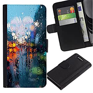 KingStore / Leather Etui en cuir / Sony Xperia Z3 Compact / Luces Rainy Street Reflexión Ciudad Somber Primavera