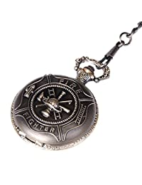 Pocket Watch Quartz Fire Fighter Case with Chain Full Hunter Neo Vintage Steampunk Design PW-30