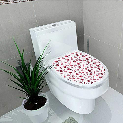 (Printsonne Bathroom Toilet seat Sticker Decal Domed Back Round Ladybugs Hearts Flowers Dragflies Romantic Wings Decal Sticker Vinyl W13 x L16)