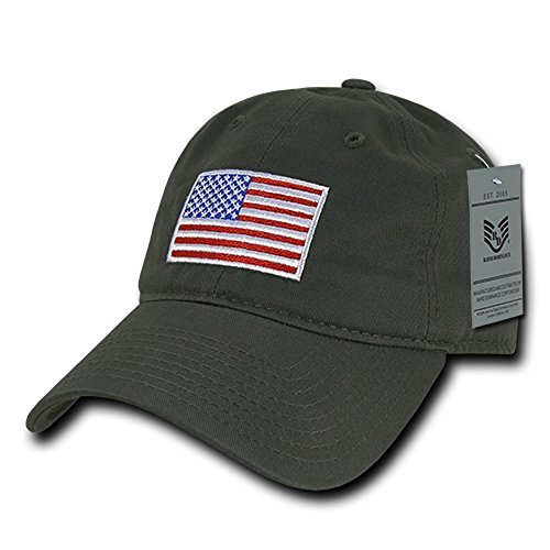 Rapid Dominance American Flag Embroidered Washed Cotton Baseball Cap - Original Olive