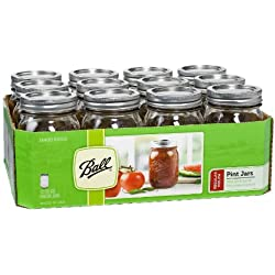 Ball Pint Regular Mouth Jars, Set of 12