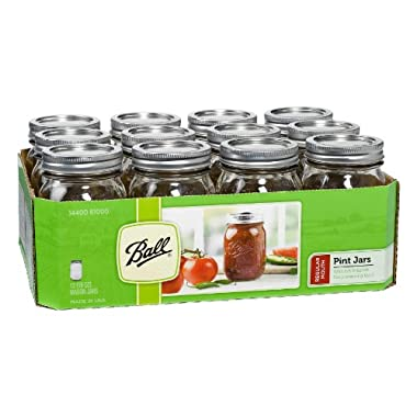 Ball Mason Regular Mouth Pint Jars with Lids and Bands, Set of 12