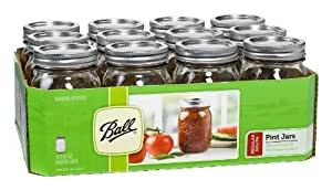 Ball Pint Regular Mouth Jars and Lids BPA Free, 16 oz, Set of 12