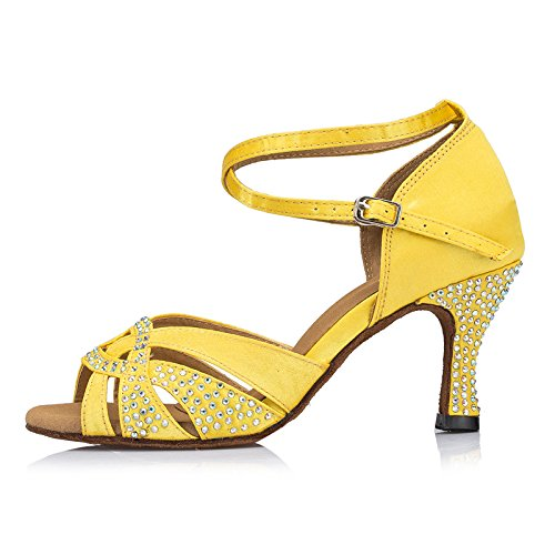 Abby By-ld024 Scarpe Da Tango Latino Da Donna Festa Da Ballo Festa Da Ballo 7,5 Centimetri Svasato Tacco Scarpe Da Ballo In Peep-toe Raso Giallo
