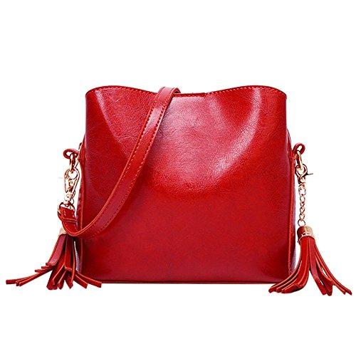 Domybest Sacs Cuir Messenger Pompon Pure Vintage Seau à Femme Main Red Bandoulière en Sacs TqwgTrf
