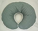 Nursing Pillow Slipcover Gray Grey with White Polka Dot Print