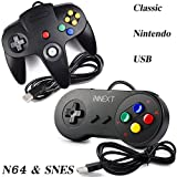 kirby and the crystal shards 64 - 2 Pack iNNEXT USB Super Nintendo Classic Controller Game pad, USB Nintendo 64 Controller & SNES Super Famicom Controller for Windows PC MAC Linux Raspberry Pi 3 Sega Genesis Higan (Black)
