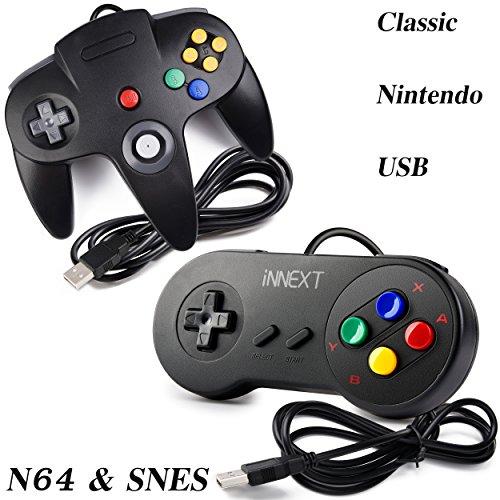 2 Pack iNNEXT USB Super Nintendo Classic Controller Game pad, USB Nintendo 64 Controller & SNES Super Famicom Controller for Windows PC MAC Linux Raspberry Pi 3 Sega Genesis Higan (Black)