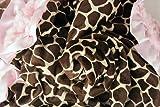 Minky Baby Blanket Powder Pink Minky Giraffe Print