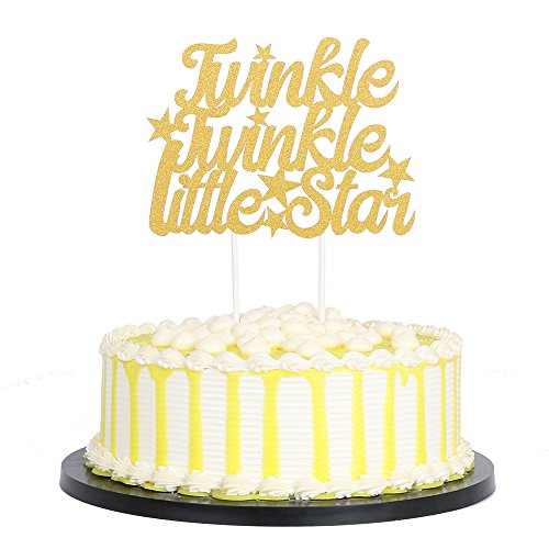 PALASASA Gold Single Sided Glitter Twinkle Twinkle Little Star Cake Topper in for Baby Shower or Birthday Party