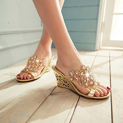 KHSKX-Sommer - Sandalen Die Keile Schuhe Diamond Sandalen Damen Crystal Diamond Ein Weiblicher Fisch Mund Schuhe Golden