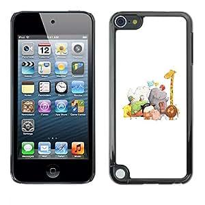 "Pulsar Snap-on Series Teléfono Carcasa Funda Case Caso para Apple iPod Touch 5 , Zoo Blanca Dibujo Jirafa Hipona"""