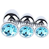 JIUTI 3PCS Anal Toys Luxury Jeweled Stainless Steel Anal Butt Plug for Sex Climax Jewel Fetish BDSM Toys for Women Men(Water Blue)