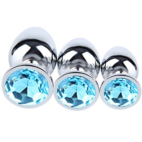 JIUTI 3PCS Anal Toys Luxury Jeweled Stainless Steel Anal Butt Plug for Sex Climax Jewel Fetish BDSM Toys for Women Men(Water Blue) by JIUTI