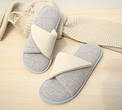 Pantoufles Habuji Home Pantoufles En Coton Au Printemps Et En Automne La Transpiration Imperméable Anti-dérapant Pantoufles En Coton Boutique, 36-37, Blanc