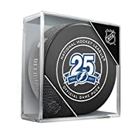 Tampa Bay Lightning 25th Anniversary Sherwood Official NHL Game Puck in Cube