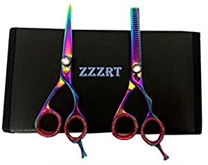 ZZZRT ZR-3000 J2 Japanese Steel Professional Razor Edge Titanium Hairdressing Scissors and Hair Thinning Scissors/Shear Set 5.5 inch (14cm) Diamond Screw + Free Rexine Scissors Case
