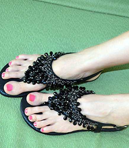NiSeng Mujer Bohemia T-Correa Sandalias Diamante De Imitación Abrir Con Punta De Sandalias Planas Negro