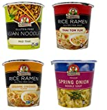 Dr. McDougall's Soup Cups 4 Flavor Variety Bundle, 1 Ea: Pad Thai, Thai Tom Yum, Sesame Chicken, Spring Onion (1.2-2 Ounces)