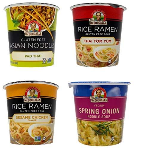 Dr. McDougall's Soup Cups 4 Flavor Variety Bundle, 1 Ea: Pad Thai, Thai Tom Yum, Sesame Chicken, Spring Onion (1.2-2 Ounces)