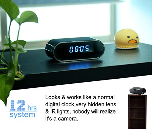 KAMRE WiFi Hidden Spy Camera Clock 12 Hour System,HD 1080P Wireless Camera with Motion Detection,Night Vision,Real-time Video,Covert Nanny Cam for Home Security Free 32GB Card Without Audio Record