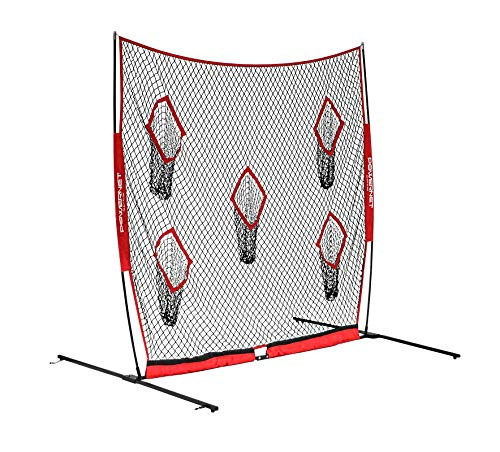 (PowerNet Football QB Pass Accuracy Trainer | 8' x 8' Portable Passing Net w/ 5 Target Pockets | Ultra-Portable Quick Setup | Solo or Team Training Equipment | Also a Kicking Net Warm up or Practice)
