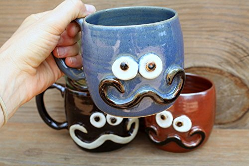 Handlebar Mustache Mug. Blue Green Red-Brown or Chocolate Black Stoneware Pottery Coffee Cup. Hot or Cold Beverage. Medium 12 – 16 Ounces.