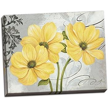Amazon gango home dcor colori yellow i beautiful grey and gango home dcor colori yellow i beautiful grey and yellow floral canvas one 20x16in hand mightylinksfo