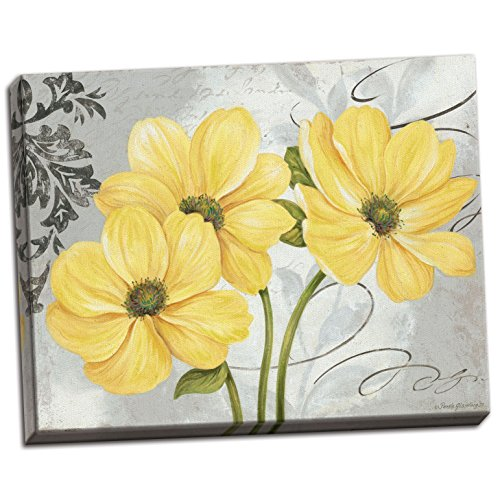 Colori Yellow I Beautiful Grey and Yellow Floral Canvas; One 20x16in Hand-Stretched Canvas