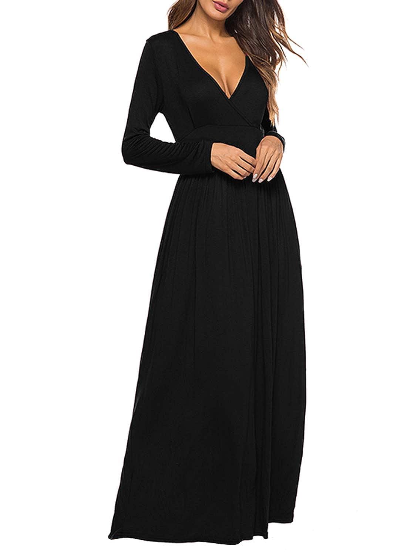 d317e36c8 REMASIKO Women's Long Sleeve V-Neck Wrap Waist Maxi Dress with Pocket at  Amazon Women's Clothing store: