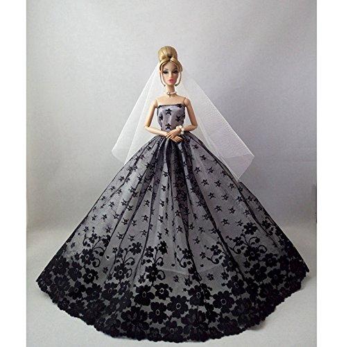 Homemade Flower Girl Costume (Qiyun 1 Pcs Party Costume Clothing Flower Wedding Dress Princess Evening Dress Black for Barbie Doll)