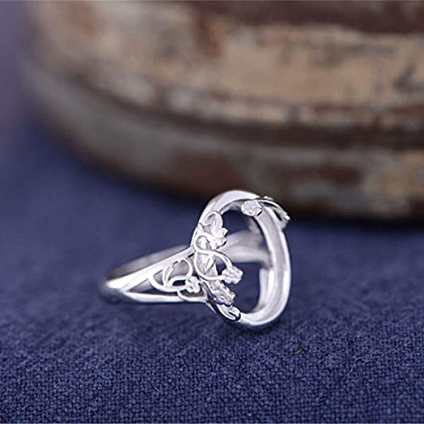 Adjustable Long-Lasting White Gold Plated 925 Silver Ring Base The High Quality 925 Ring Blank Antique Style Cabochon Ring Setting KTJ259
