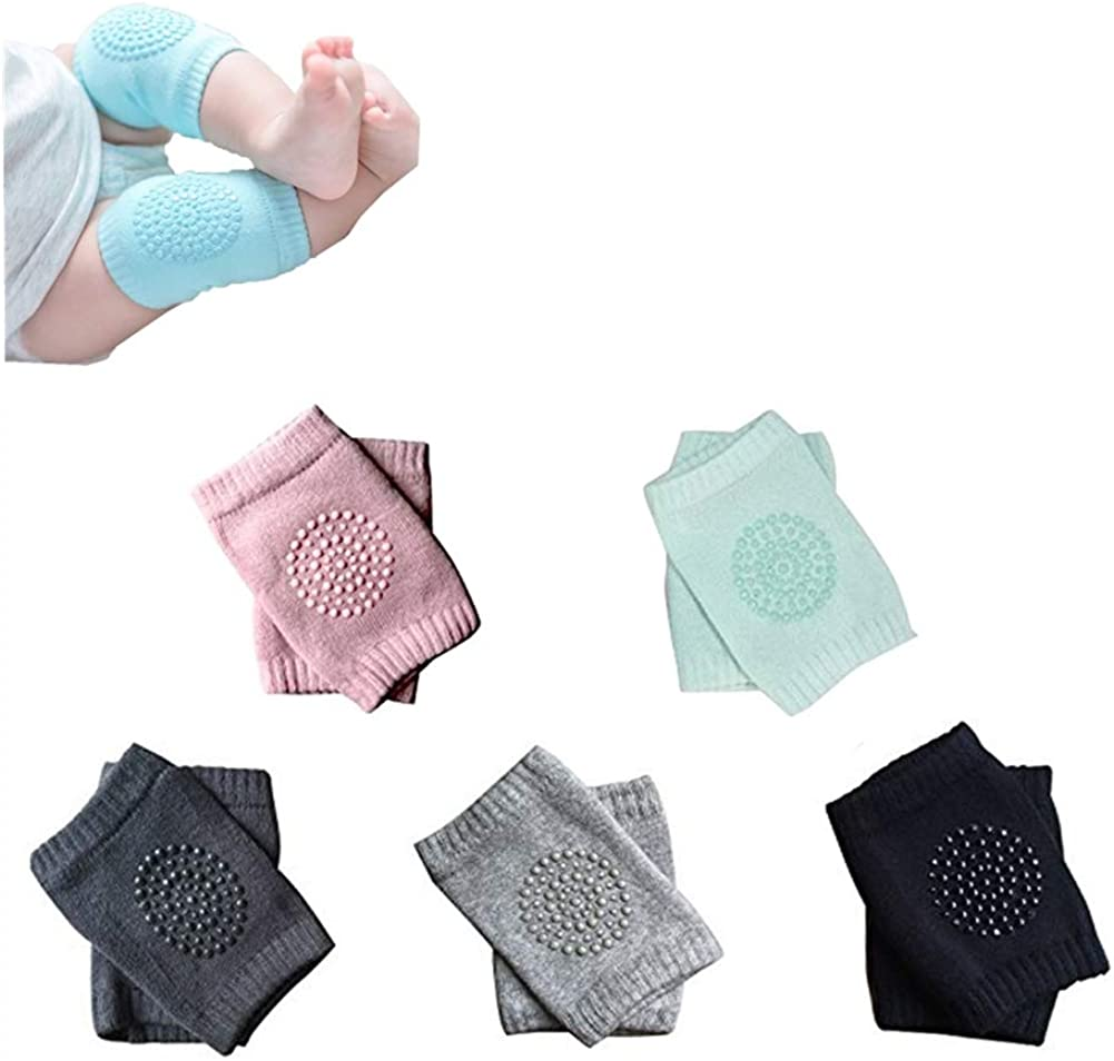 Xiaoai 5 Pairs Baby Anti Slip Knee Pads Crawling Toddlers Kneepads, Unisex Children Short Kneepads