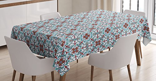 "Ambesonne Vintage Tablecloth, Antique Floral Pattern Italian Majolica Style Ornate Illustration, Rectangular Table Cover for Dining Room Kitchen Decor, 60"" X 90"", Blue"