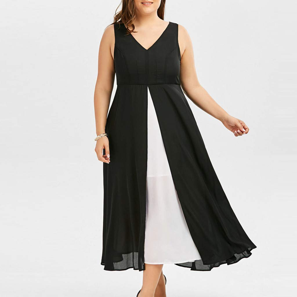 Gyouanime Plus Size Dress Womens V-Neck Sleeveless Black White Patchwork Long Maxi Dress Beachwear by Gyouanime Dress (Image #5)