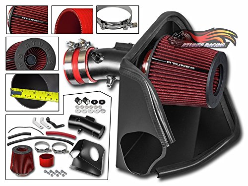 RED Filter For 09-14 Nissan 370Z 3.7L V6 R/&L racing Cold Heat Shield Air Intake Matte Black
