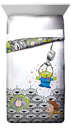 Disney/Pixar Toy Story Green Man White Twin Reversible Comforter with Buzz Lightyear and Woody