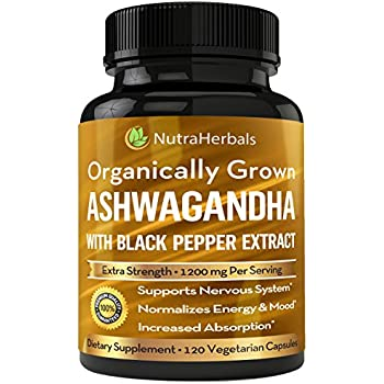 Organic Ashwagandha Root Powder 1200mg - 120 Veggie Capsules - Ashwaganda Supplement Certified Organic – Black Pepper Extract For Increased Absorption