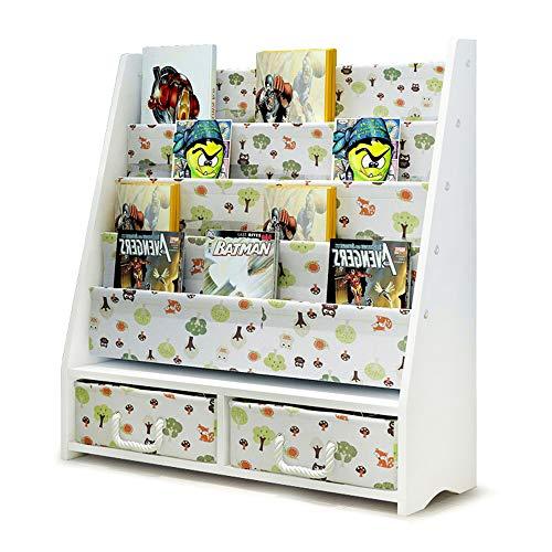 Kids Bookshelf, FOME Kids Book Rack Sling Bookshelf Book Display Stand Bookcases Book Shelves with 2 Removable Toy Storage Bin for Children Floor Display Stand Kindergarten Magazine Rack