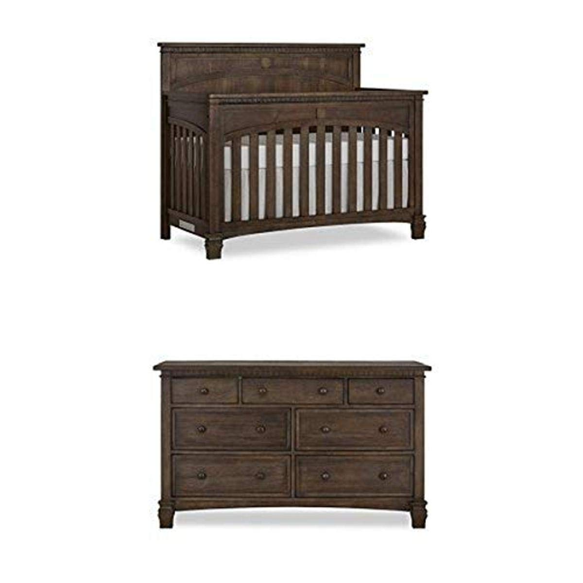 Evolur Santa Fe 5 in 1 Convertible Crib, Antique Brown with Double Dresser