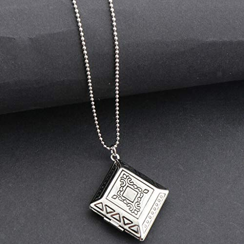 Rhombus Pendant Necklace Photo Lockets Necklace for Women Girls Men Gifts Necklace Jewelry Crafting Key Chain Bracelet Pendants Accessories Best| Color - - Art Red Color Sconces