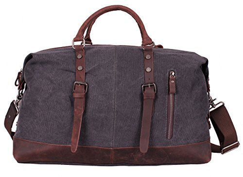 Iblue Oversized Leather Canvas Casual Travel Tote Luggage Duffel Handbag#831 (Dark Grey Xl (Best Iblue Messenger Bags)