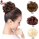 Leeons Wavy Messy Bun Extensions Curly Donut Chignons Updo Wig Scrunchy Scrunchie Synthetic Hair Pieces With Elastic Hair Tie (#613)