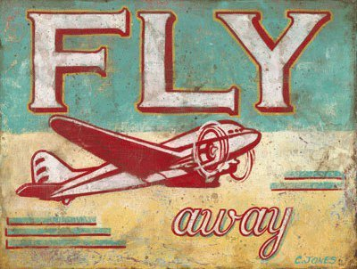 Fly Away Metal Sign, Airplane, Den Decor, Children's Room Decor, Vintage Decor by OMSC ()