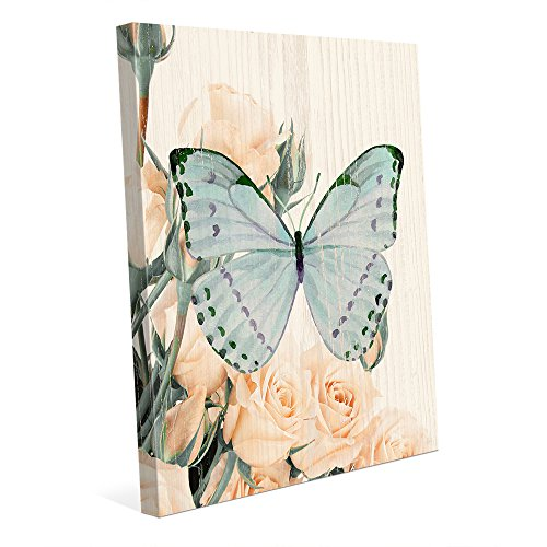 Butterfly and Roses Evening Tea: Vintage Shabby Chic Painting in Pastels Wall Art Print on ()