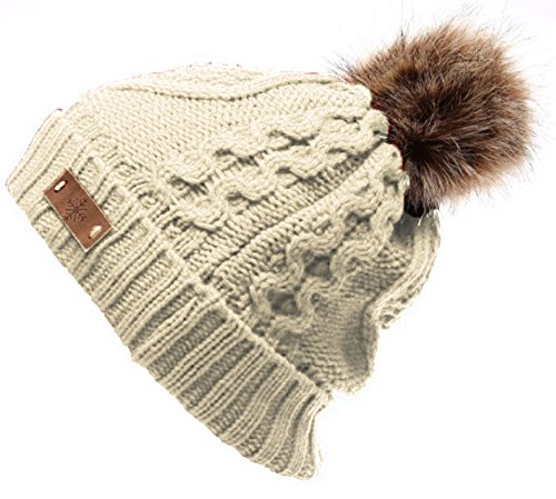 Women's Faux Fur PomPom Fleece Lined Knitted Slouchy Beanie Hat - Beige