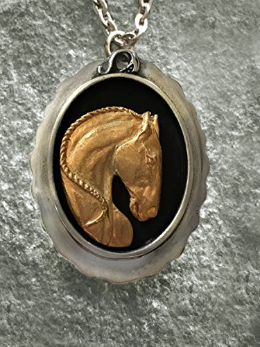 Horse Lady Gifts Pendant, Lusitano Horse necklace in 24k overlay on scalloped pewter oval handmade by artist USA 24k Oval Pendant