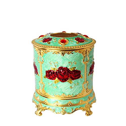 New Cylinder Tissue Box Cover Zinc Alloy for Home Office Decor , gold green by YANXH home (Image #2)